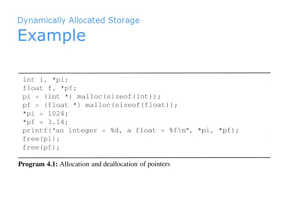 Dynamically Allocated Storage Example