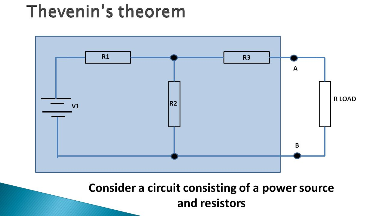 R1 R2 R3 R LOAD A B V1 Consider a circuit consisting of a power source and resistors