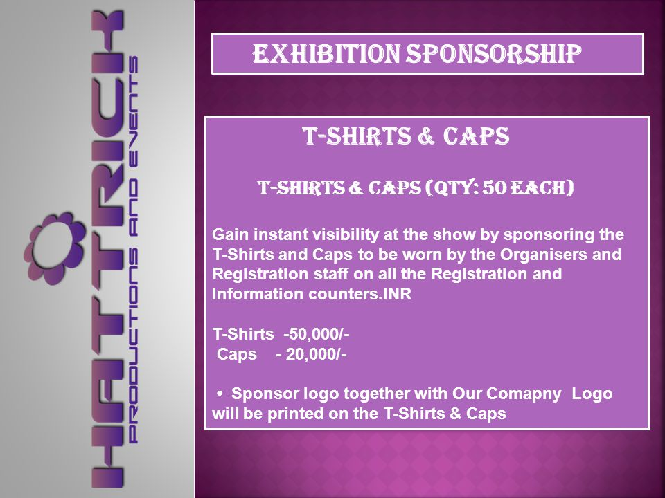 Registration Counters Registration Counters (2 sponsors) - INR 50,000/- per sponsor Sponsor the Registration Counters and ensure instant visibility at the show.