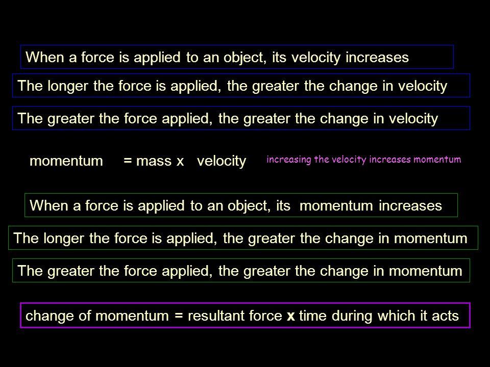 m1m1 m2m2 m 2 pushes off m 1 v 2 = 0 momentum before = m 1 v 1 + m 2 v 2 = 0 + 0 = 0 v 1 = 0 m 1 > m 2 momentum after = m 1 v 1 + m 2 v 2 = -m 1 v 1 + m 2 v 2 therefore m 1 v 1 = m 2 v 2