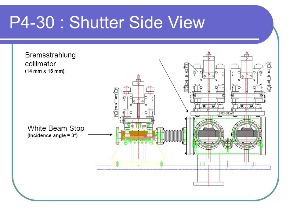P4-30 : Shutter Side View White Beam Stop (Incidence angle = 3°) Bremsstrahlung collimator (14 mm x 16 mm)