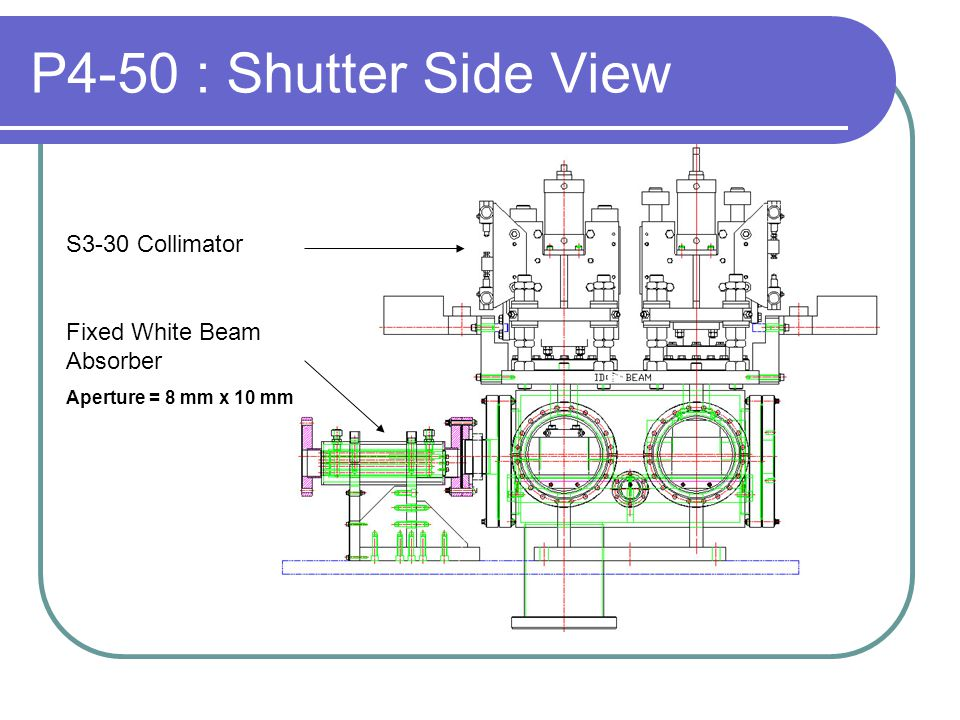 P4-50 : Shutter Side View S3-30 Collimator Fixed White Beam Absorber Aperture = 8 mm x 10 mm