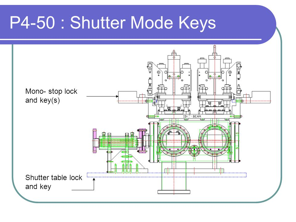 P4-50 : Shutter Mode Keys Mono- stop lock and key(s) Shutter table lock and key