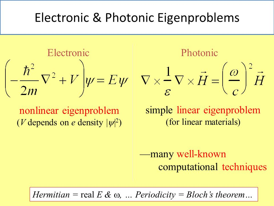 18 Electronic & Photonic Eigenproblems ElectronicPhotonic simple linear eigenproblem (for linear materials) nonlinear eigenproblem (V depends on e density |  | 2 ) —many well-known computational techniques Hermitian = real E & , … Periodicity = Bloch's theorem…