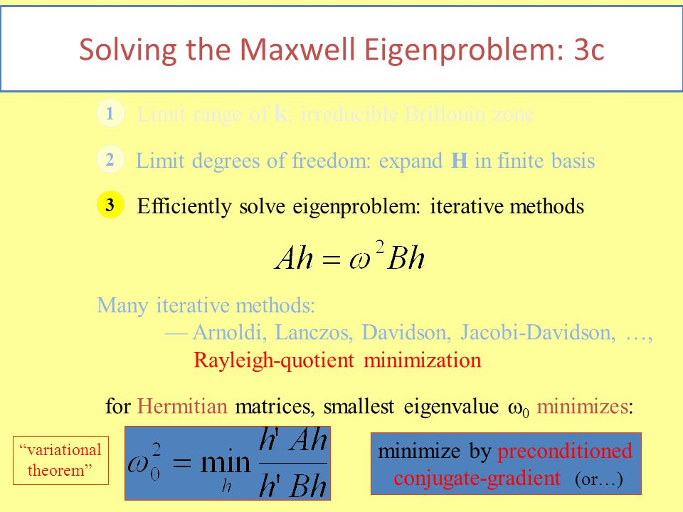 27 Solving the Maxwell Eigenproblem: 3c 1 Limit range of k : irreducible Brillouin zone 2 Limit degrees of freedom: expand H in finite basis 3 Efficiently solve eigenproblem: iterative methods Many iterative methods: — Arnoldi, Lanczos, Davidson, Jacobi-Davidson, …, Rayleigh-quotient minimization for Hermitian matrices, smallest eigenvalue  0 minimizes: minimize by preconditioned conjugate-gradient (or…) variational theorem
