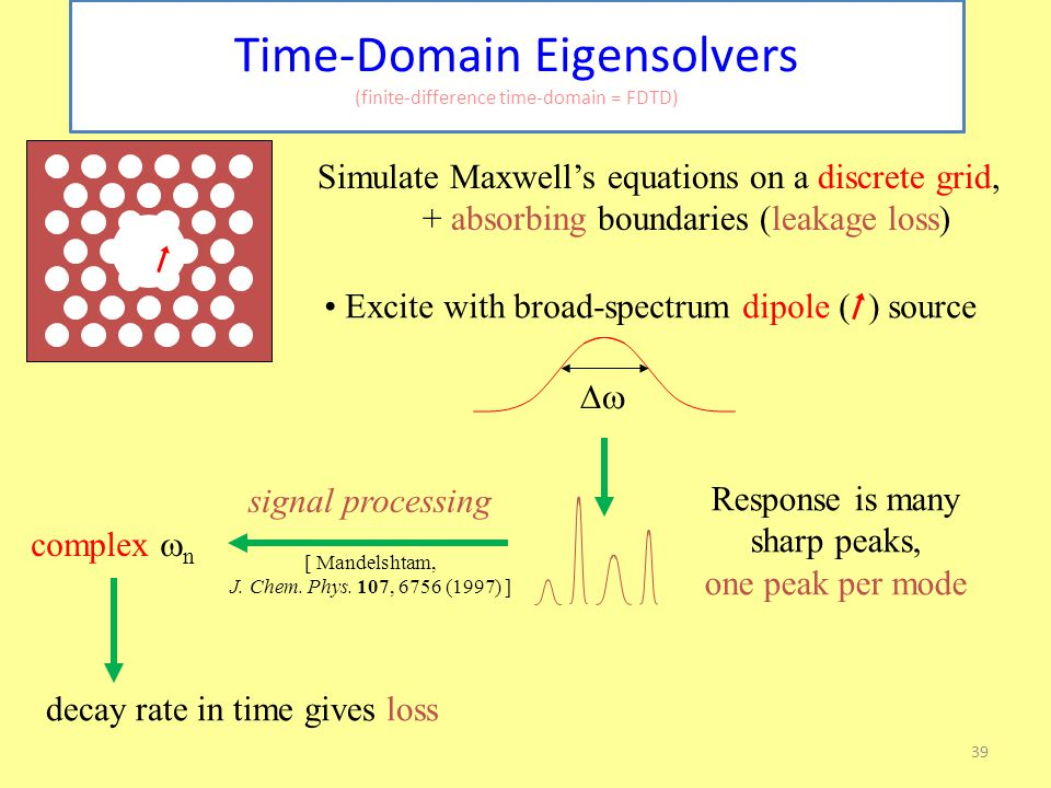 39 Time-Domain Eigensolvers (finite-difference time-domain = FDTD) Simulate Maxwell's equations on a discrete grid, + absorbing boundaries (leakage loss) Excite with broad-spectrum dipole ( ) source  Response is many sharp peaks, one peak per mode complex  n [ Mandelshtam, J.