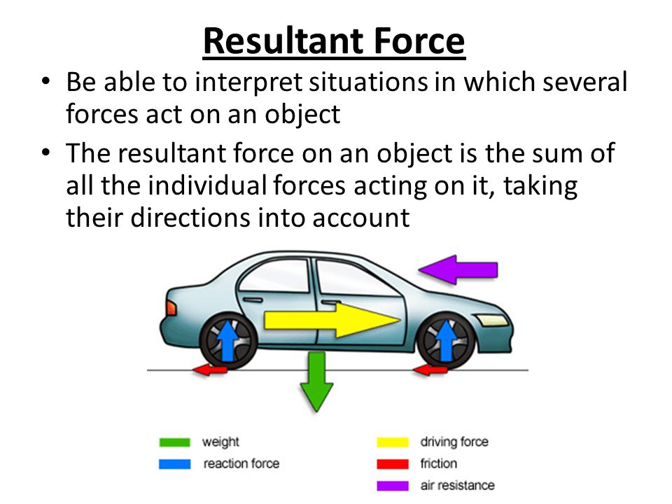 Resultant Force Be able to interpret situations in which several forces act on an object The resultant force on an object is the sum of all the individual forces acting on it, taking their directions into account