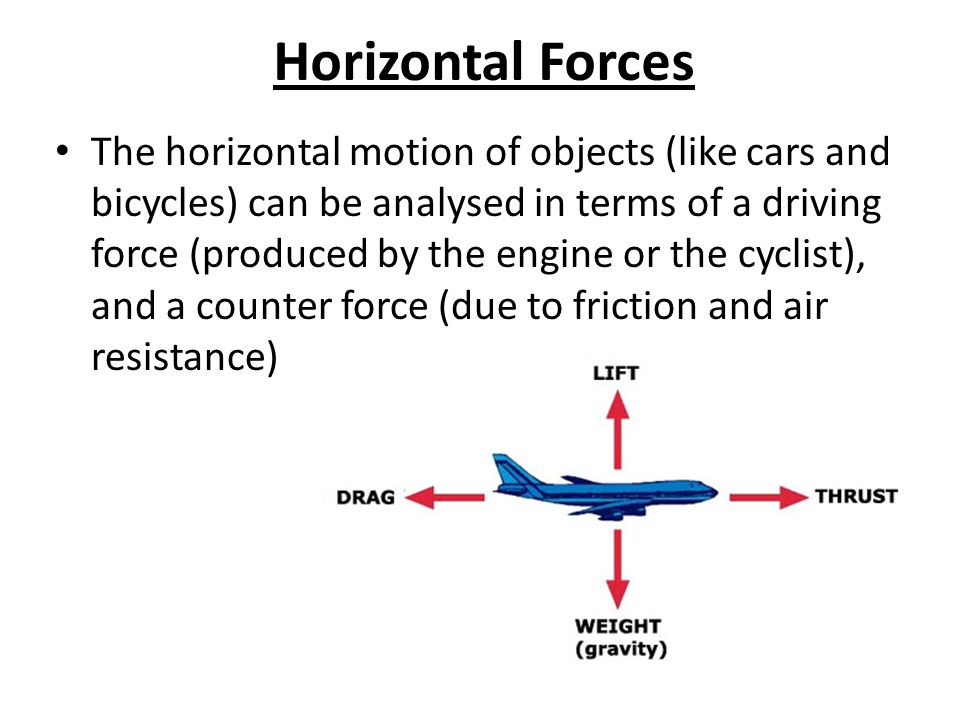 Horizontal Forces The horizontal motion of objects (like cars and bicycles) can be analysed in terms of a driving force (produced by the engine or the cyclist), and a counter force (due to friction and air resistance)
