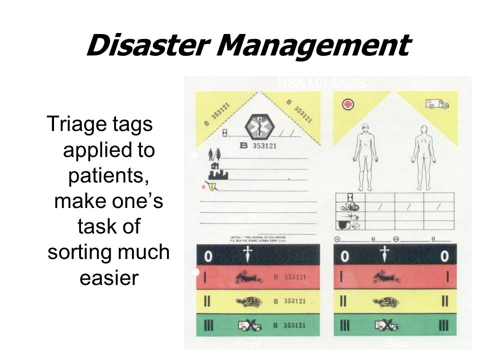 Disaster Management Triage tags applied to patients, make one's task of sorting much easier USA MILTAGS Front Back