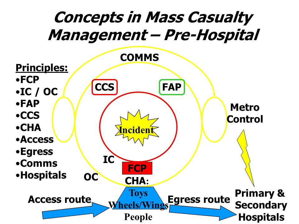Concepts in Mass Casualty Management – Pre-Hospital FCP IC OC FAPCCS Incident CHA : Toys Wheels/Wings People Access routeEgress route COMMS Metro Control Primary & Secondary Hospitals Principles: FCP IC / OC FAP CCS CHA Access Egress Comms Hospitals