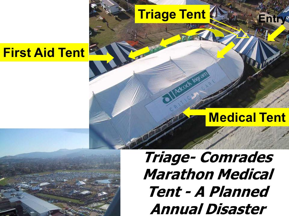 Triage- Comrades Marathon Medical Tent - A Planned Annual Disaster Medical Tent Triage Tent First Aid Tent Entry