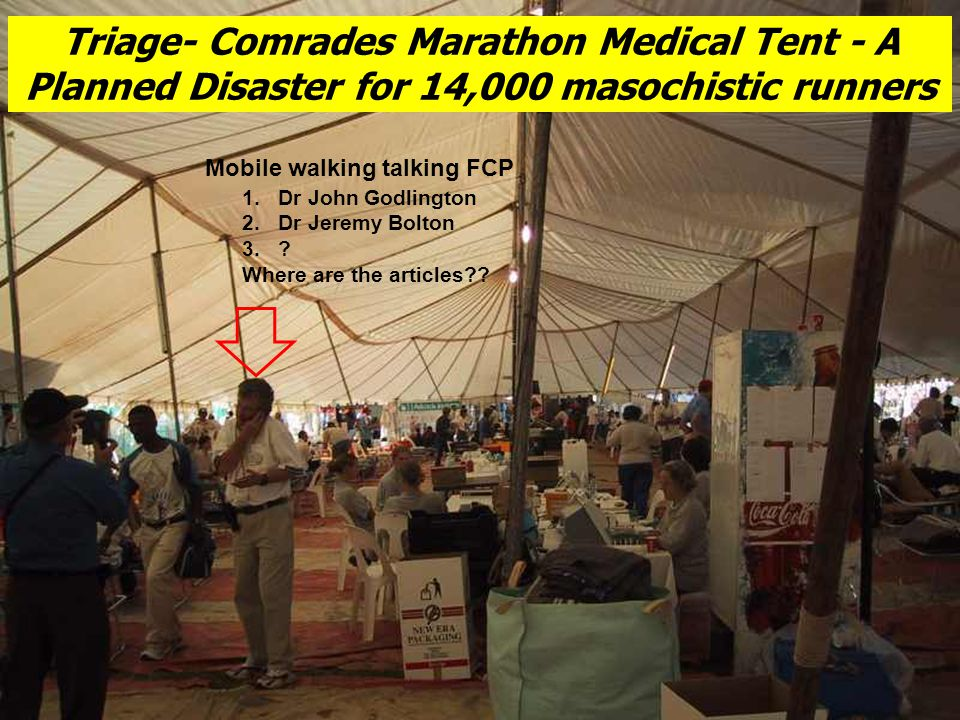 Triage- Comrades Marathon Medical Tent - A Planned Disaster for 14,000 masochistic runners 1.Dr John Godlington 2.Dr Jeremy Bolton 3..