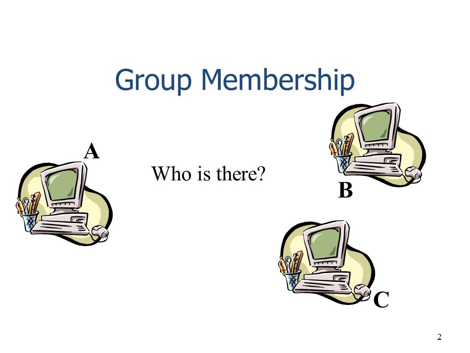 2 Group Membership B A C Who is there?