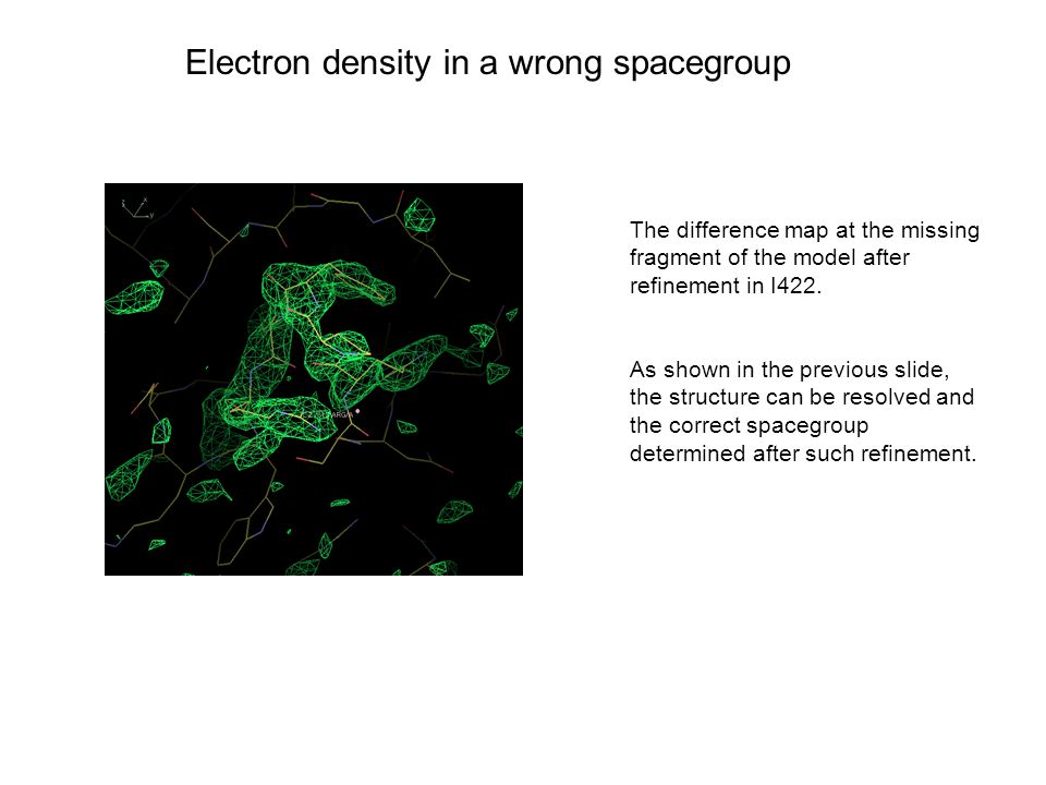 Electron density in a wrong spacegroup The difference map at the missing fragment of the model after refinement in I422.