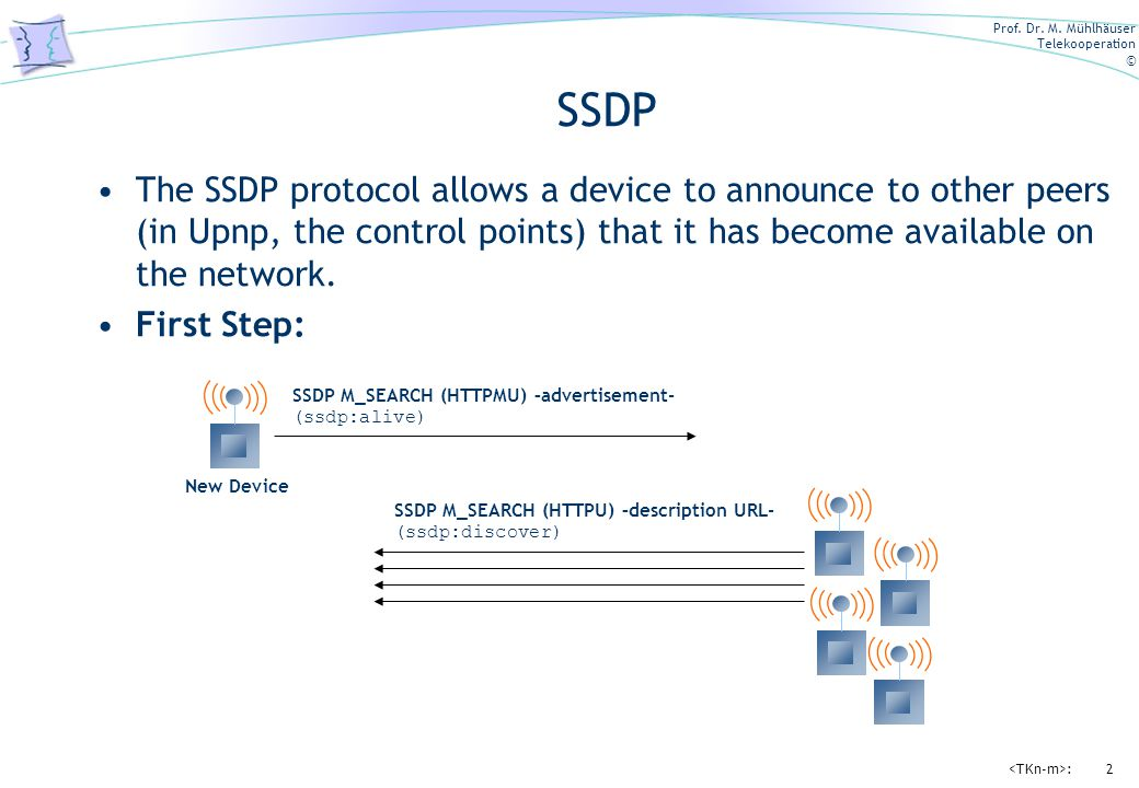 Prof. Dr. M. Mühlhäuser Telekooperation © :2 SSDP The SSDP protocol allows a device to announce to other peers (in Upnp, the control points) that it h