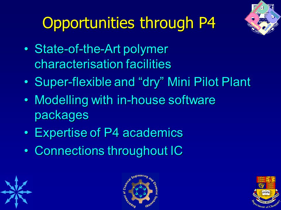 Opportunities through P4 State-of-the-Art polymer characterisation facilitiesState-of-the-Art polymer characterisation facilities Super-flexible and dry Mini Pilot PlantSuper-flexible and dry Mini Pilot Plant Modelling with in-house software packagesModelling with in-house software packages Expertise of P4 academicsExpertise of P4 academics Connections throughout ICConnections throughout IC