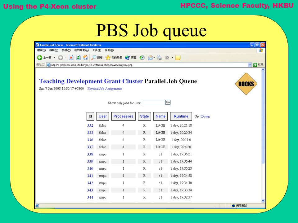 Using the P4-Xeon cluster HPCCC, Science Faculty, HKBU PBS Job queue