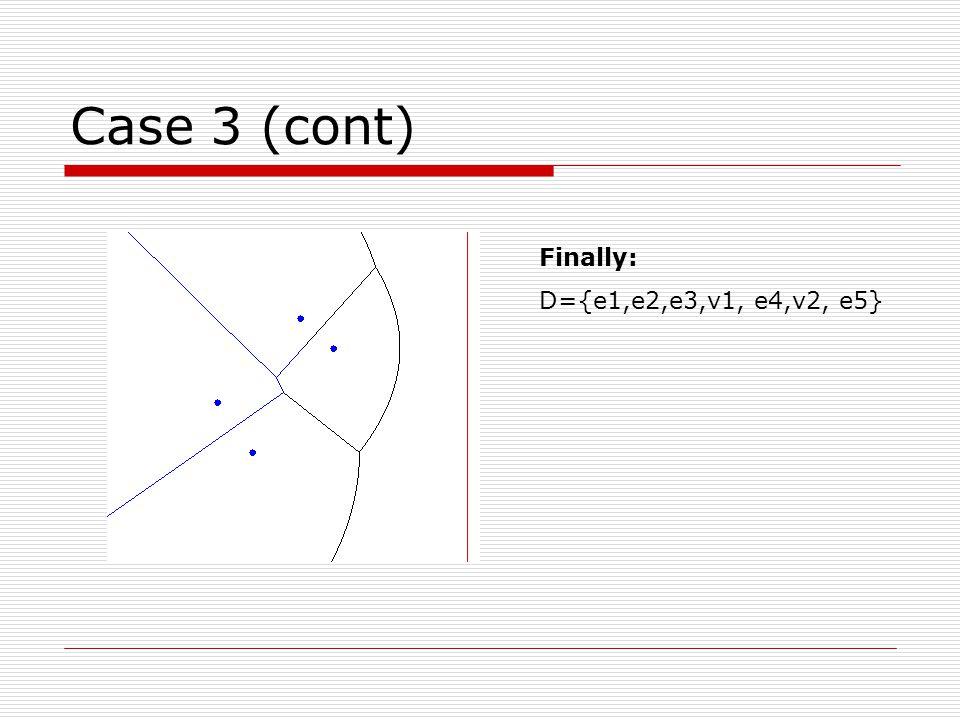 Case 3 (cont) Finally: D={e1,e2,e3,v1, e4,v2, e5}