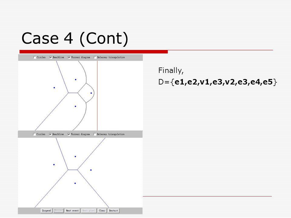 Case 4 (Cont) Finally, D={e1,e2,v1,e3,v2,e3,e4,e5}