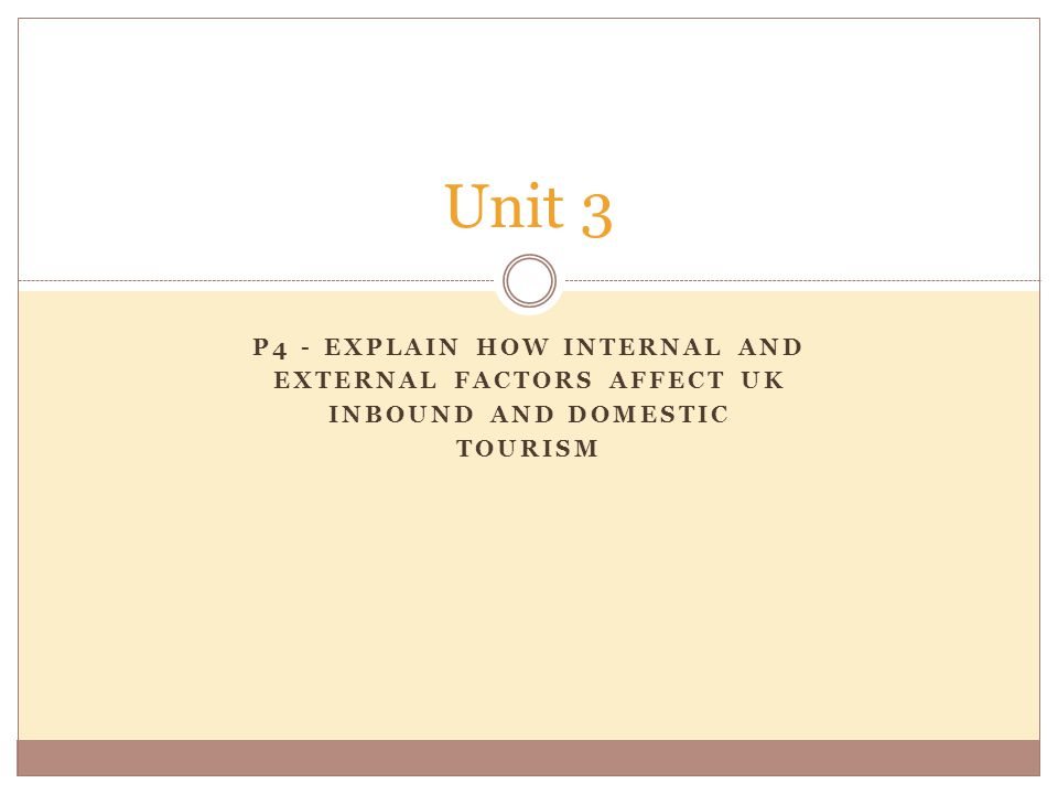 P4 - EXPLAIN HOW INTERNAL AND EXTERNAL FACTORS AFFECT UK INBOUND AND DOMESTIC TOURISM Unit 3