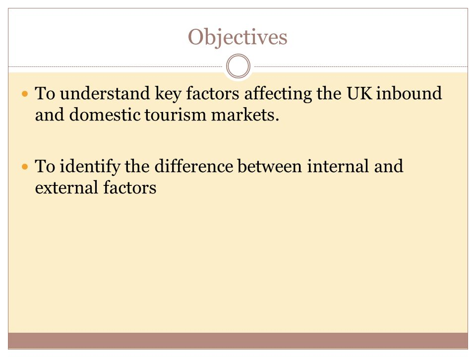 Objectives To understand key factors affecting the UK inbound and domestic tourism markets. To identify the difference between internal and external f