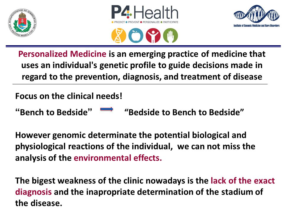 Personalized Medicine is an emerging practice of medicine that uses an individual's genetic profile to guide decisions made in regard to the preventio