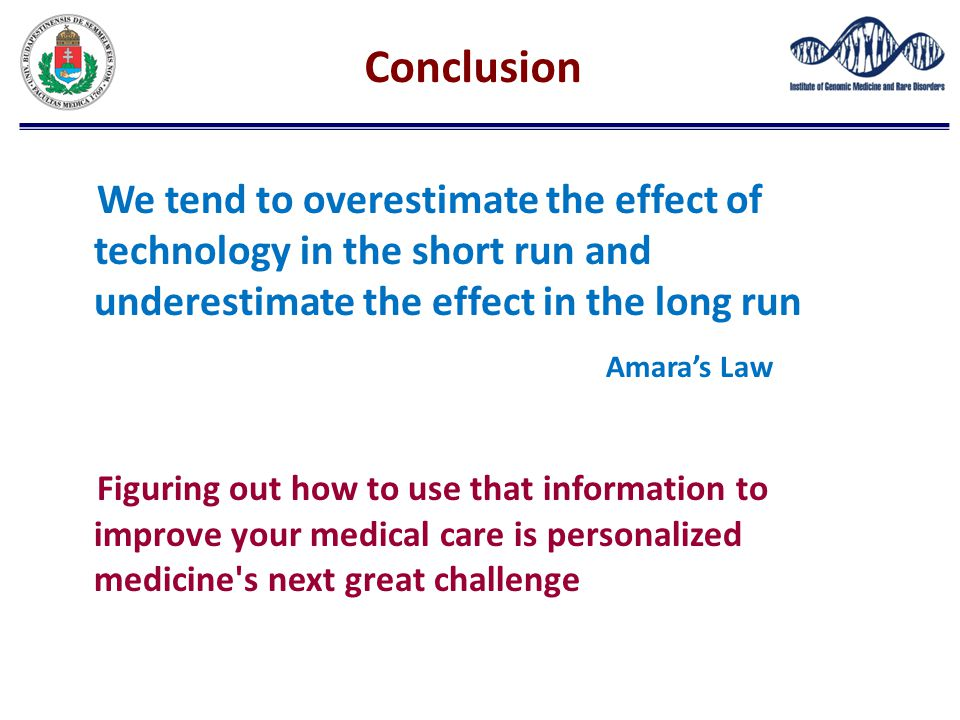 Conclusion We tend to overestimate the effect of technology in the short run and underestimate the effect in the long run Amara's Law Figuring out how