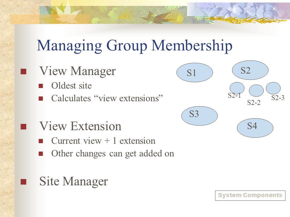 """Managing Group Membership View Manager Oldest site Calculates """"view extensions"""" View Extension Current view + 1 extension Other changes can get added"""