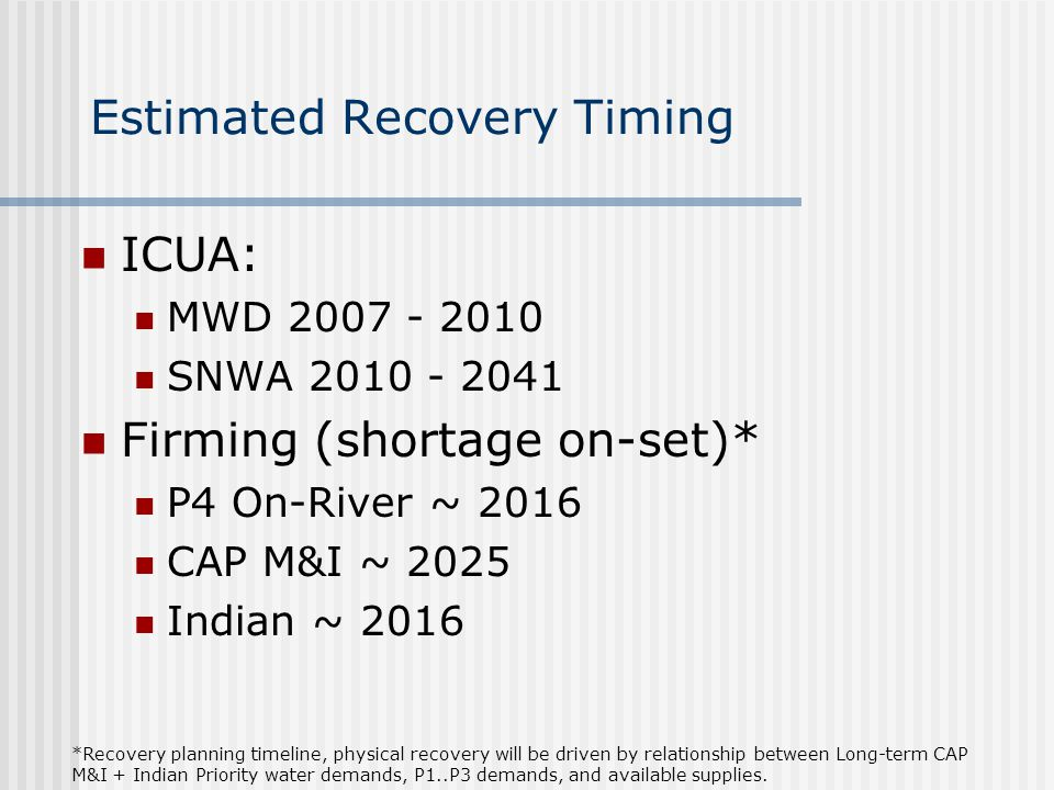 Estimated Recovery Timing ICUA: MWD 2007 - 2010 SNWA 2010 - 2041 Firming (shortage on-set)* P4 On-River ~ 2016 CAP M&I ~ 2025 Indian ~ 2016 *Recovery planning timeline, physical recovery will be driven by relationship between Long-term CAP M&I + Indian Priority water demands, P1..P3 demands, and available supplies.