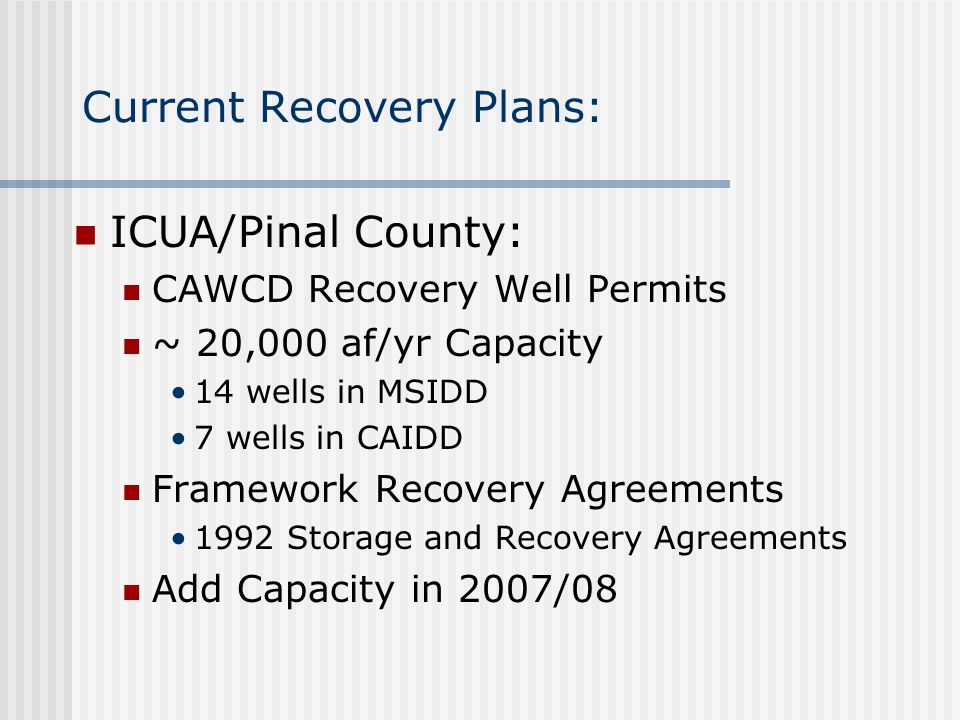 Current Recovery Plans: ICUA/Pinal County: CAWCD Recovery Well Permits ~ 20,000 af/yr Capacity 14 wells in MSIDD 7 wells in CAIDD Framework Recovery A