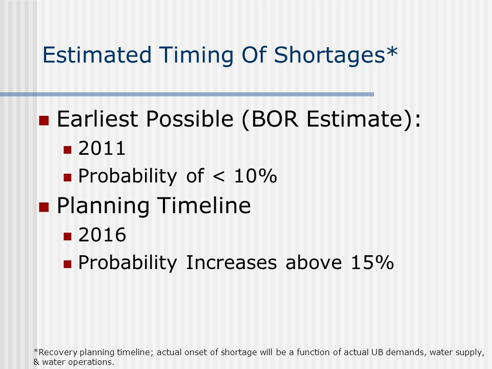 Estimated Timing Of Shortages* Earliest Possible (BOR Estimate): 2011 Probability of < 10% Planning Timeline 2016 Probability Increases above 15% *Recovery planning timeline; actual onset of shortage will be a function of actual UB demands, water supply, & water operations.