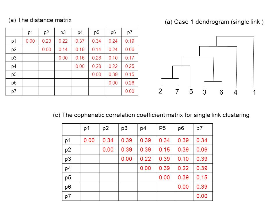 2 75 36 4 1 (a) The dendrogram for complete link clustering (b) The cophenetic correlation coefficient matrix for complete link clustering p1p2p3p4p5p6p7 p10.000.19 p2 0.000.140.160.14 0.06 p3 0.000.160.140.100.14 p4 0.000.16 p50.000.14 p60.000.14 p70.00