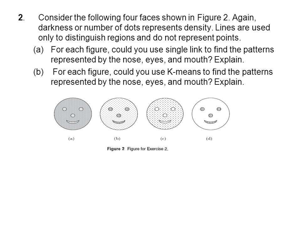 2. Consider the following four faces shown in Figure 2. Again, darkness or number of dots represents density. Lines are used only to distinguish regio