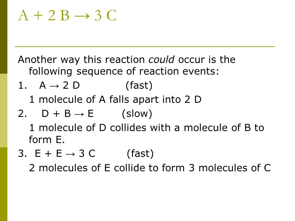 A + 2 B → 3 C Another way this reaction could occur is the following sequence of reaction events: 1. A → 2 D (fast) 1 molecule of A falls apart into 2