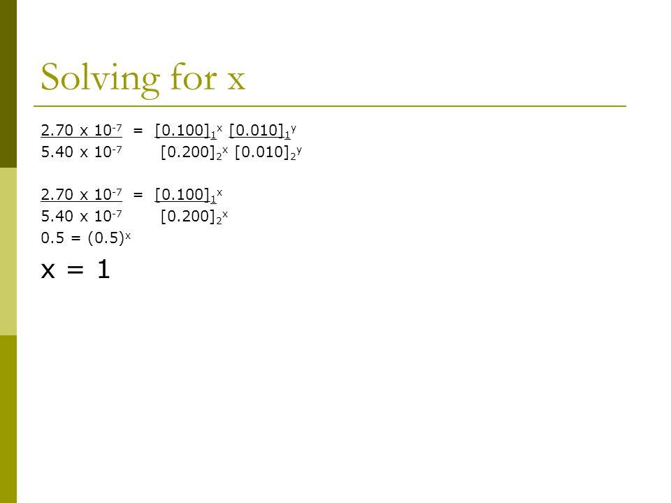 Solving for x 2.70 x 10 -7 = [0.100] 1 x [0.010] 1 y 5.40 x 10 -7 [0.200] 2 x [0.010] 2 y 2.70 x 10 -7 = [0.100] 1 x 5.40 x 10 -7 [0.200] 2 x 0.5 = (0