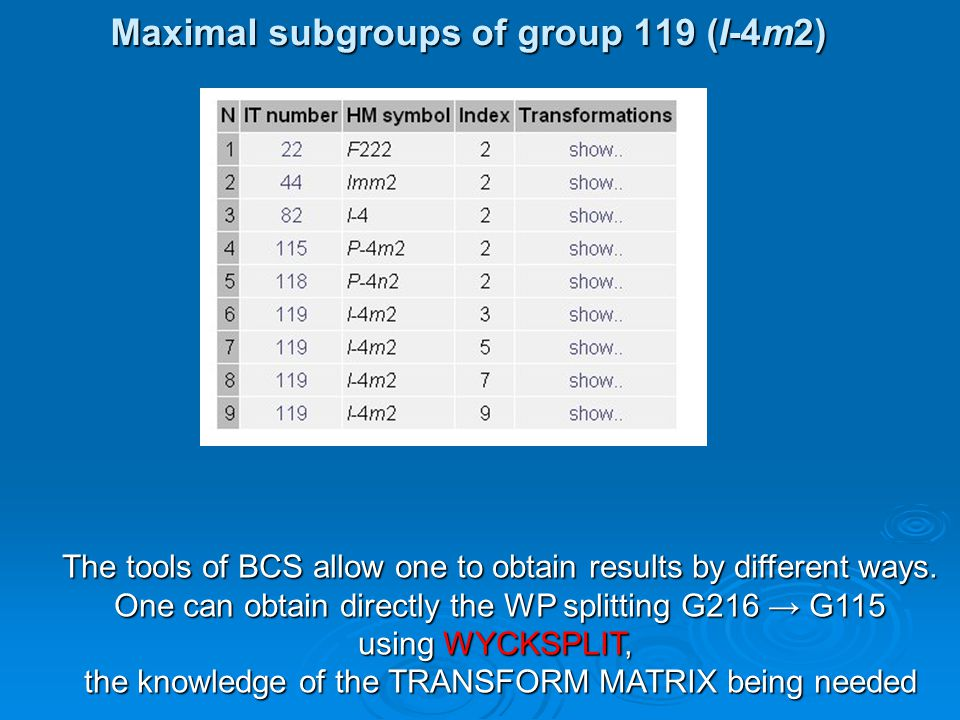 Maximal subgroups of group 119 (I-4m2) The tools of BCS allow one to obtain results by different ways. One can obtain directly the WP splitting G216 →