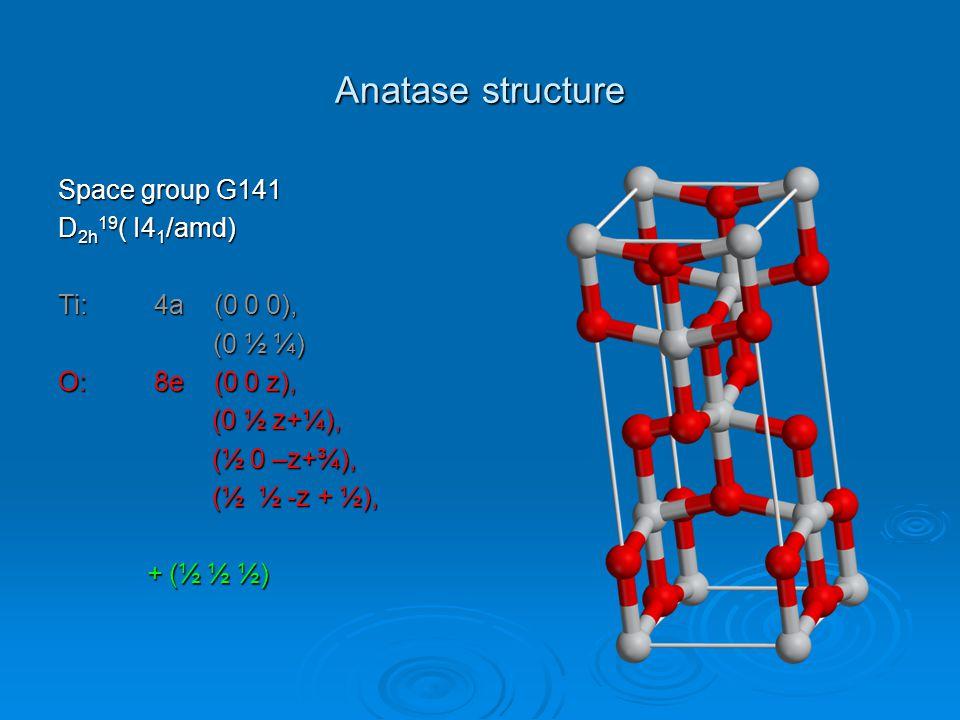 Anatase structure Space group G141 D 2h 19 ( I4 1 /amd) Ti:4a (0 0 0), (0 ½ ¼) (0 ½ ¼) O:8e (0 0 z), (0 ½ z+¼), (0 ½ z+¼), (½ 0 –z+¾), (½ 0 –z+¾), (½