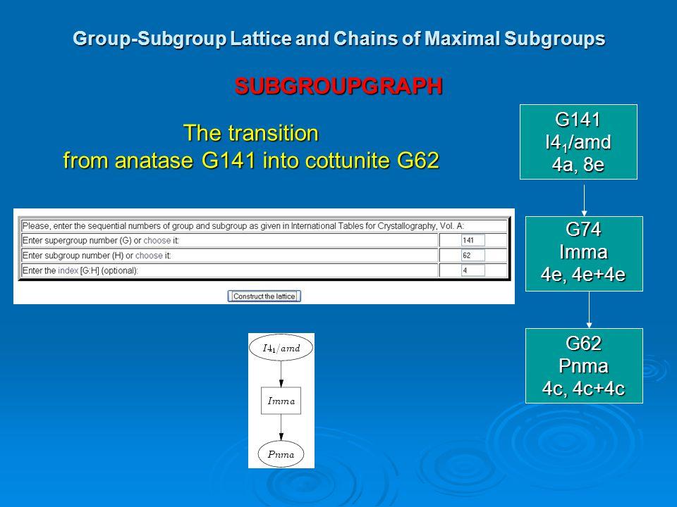 Group-Subgroup Lattice and Chains of Maximal Subgroups SUBGROUPGRAPH G141 I4 1 /amd 4a, 8e G74Imma 4e, 4e+4e G62Pnma 4c, 4c+4c The transition from ana