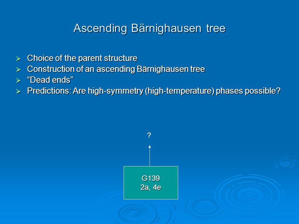 """Ascending Bärnighausen tree  Choice of the parent structure  Construction of an ascending Bärnighausen tree  """"Dead ends""""  Predictions: Are high-sy"""