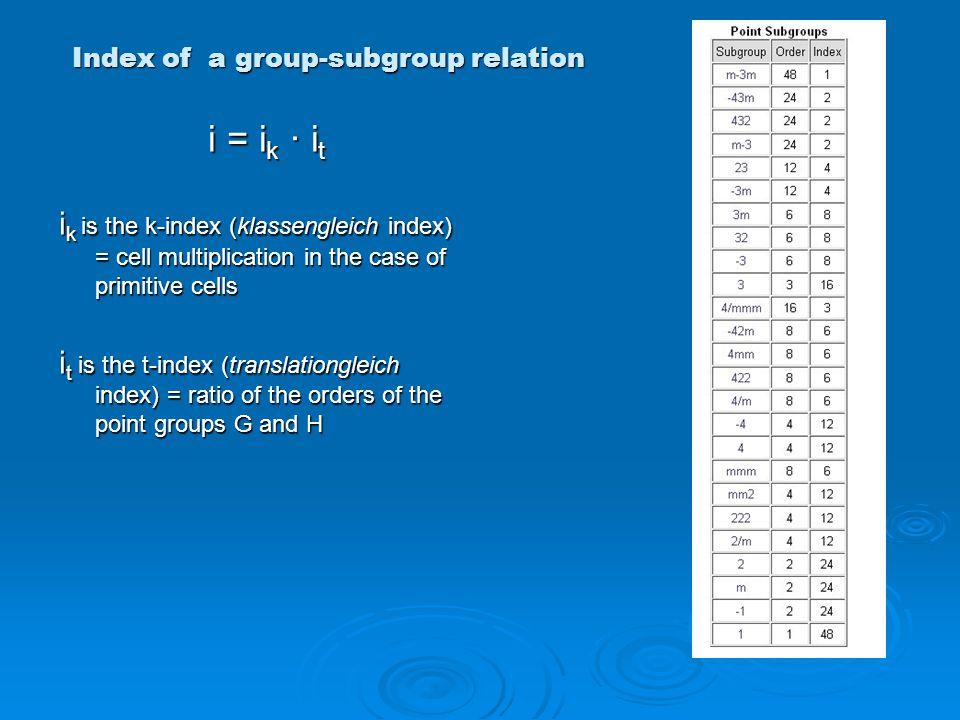 Index of a group-subgroup relation i = i k ∙ i t i = i k ∙ i t i k is the k-index (klassengleich index) = cell multiplication in the case of primitive