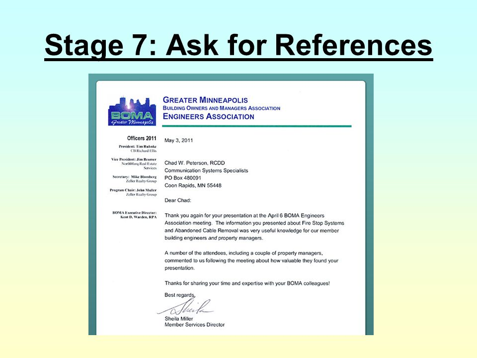 Stage 7: Ask for References