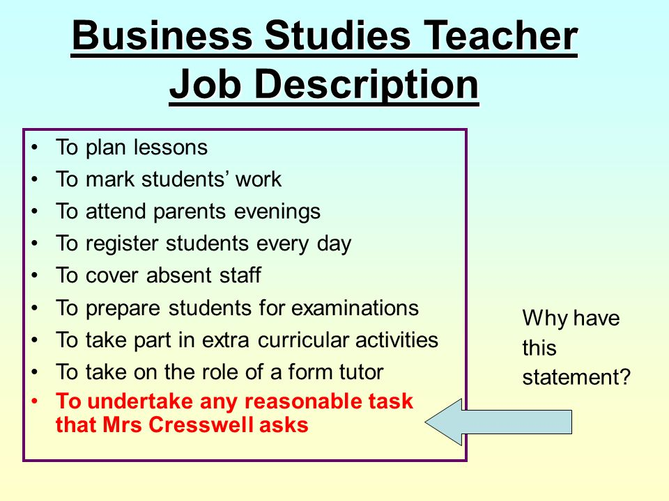Business Studies Teacher Job Description To plan lessons To mark students' work To attend parents evenings To register students every day To cover abs
