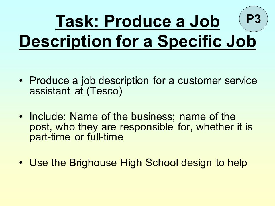 Task: Produce a Job Description for a Specific Job Produce a job description for a customer service assistant at (Tesco) Include: Name of the business
