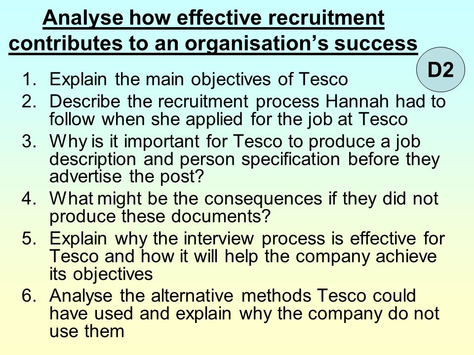 Analyse how effective recruitment contributes to an organisation's success 1.Explain the main objectives of Tesco 2.Describe the recruitment process H