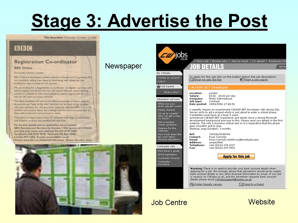 Stage 3: Advertise the Post Job Centre Website Newspaper