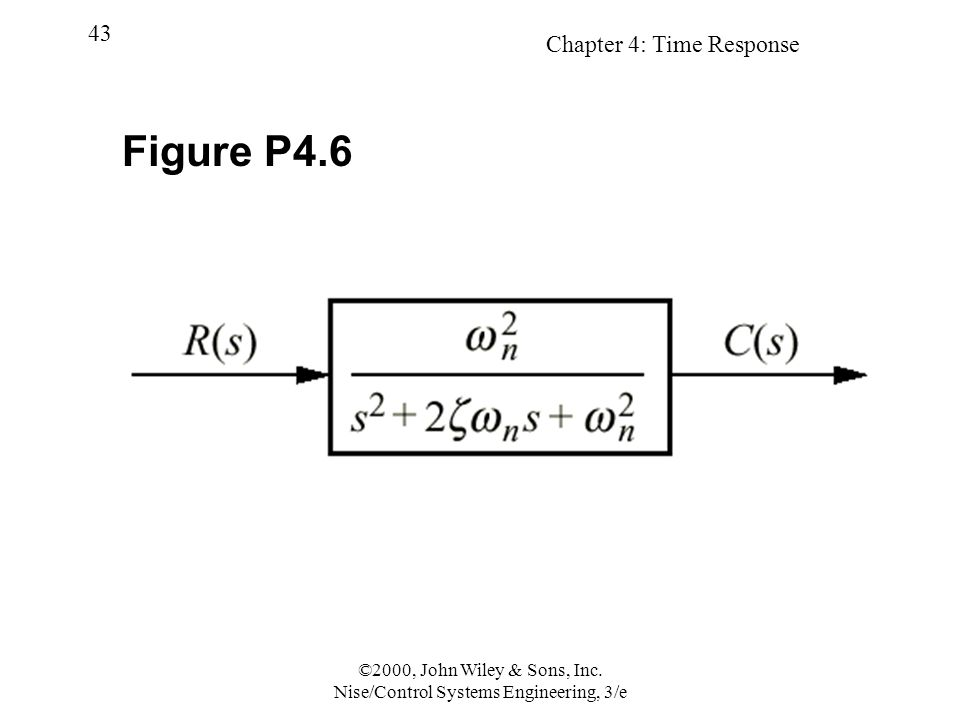 Chapter 4: Time Response 43 ©2000, John Wiley & Sons, Inc. Nise/Control Systems Engineering, 3/e Figure P4.6
