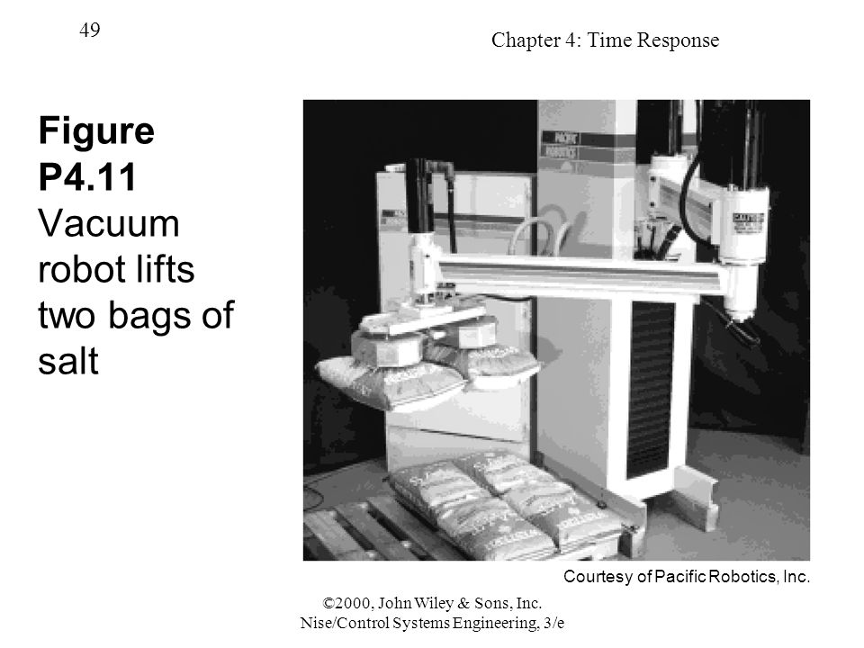 Chapter 4: Time Response 49 ©2000, John Wiley & Sons, Inc. Nise/Control Systems Engineering, 3/e Figure P4.11 Vacuum robot lifts two bags of salt Cour