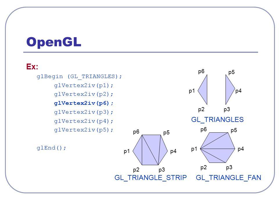 OpenGL Ex: glBegin (GL_TRIANGLES); glVertex2iv(p1); glVertex2iv(p2); glVertex2iv(p6); glVertex2iv(p3); glVertex2iv(p4); glVertex2iv(p5); glEnd(); GL_T