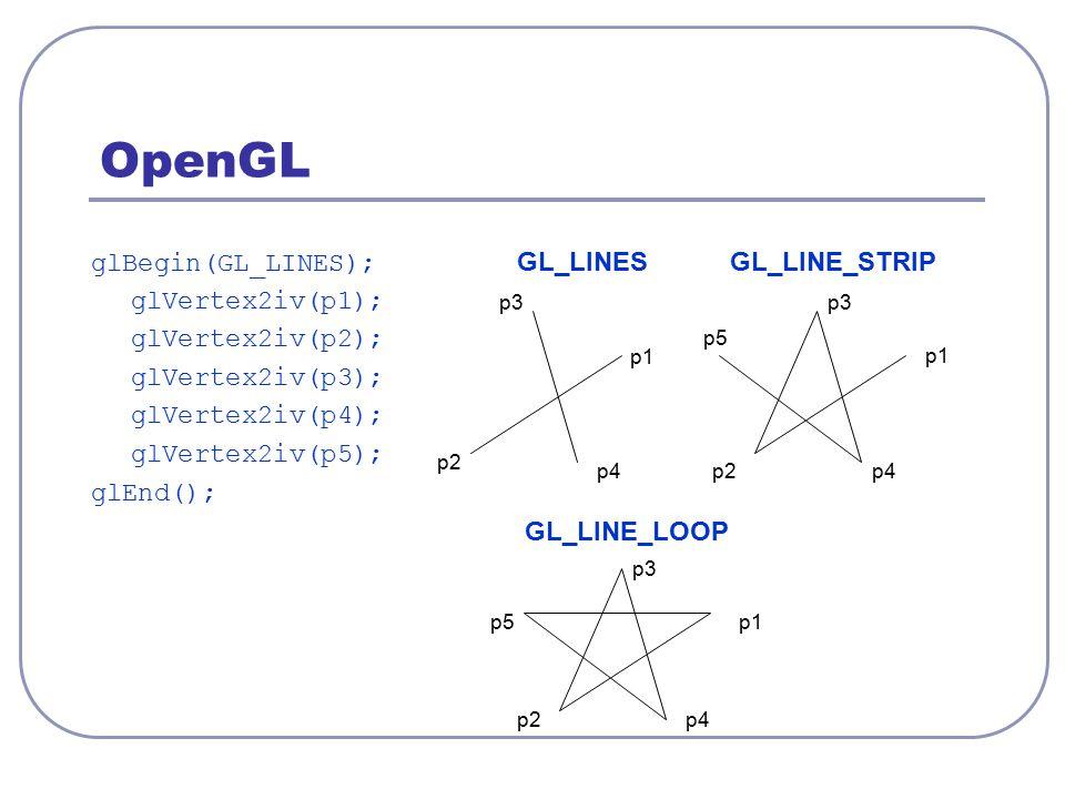 OpenGL glBegin(GL_LINES); GL_LINESGL_LINE_STRIP glVertex2iv(p1); glVertex2iv(p2); glVertex2iv(p3); glVertex2iv(p4); glVertex2iv(p5); glEnd(); GL_LINE_