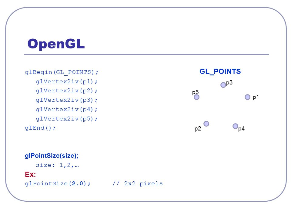 OpenGL glBegin(GL_POINTS); GL_POINTS glVertex2iv(p1); glVertex2iv(p2); glVertex2iv(p3); glVertex2iv(p4); glVertex2iv(p5); glEnd(); glPointSize(size);